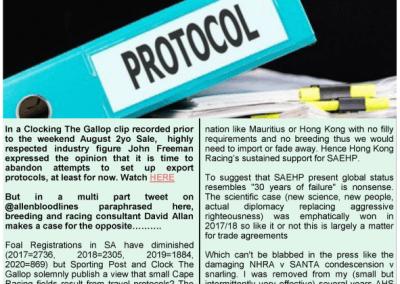 EXPORT PROTOCOLS ESSENTIAL SAYS DAVID ALLAN – Turf Talk: 23 Aug 2021